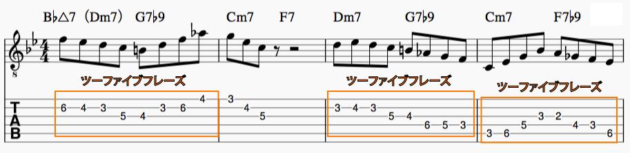 Ⅱm7-Ⅴ7(ツーファイブ)フレーズを利用したフレーズ