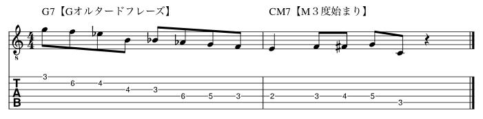 例3ドミナントトニックフレーズ