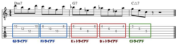 トライアドの組み合わせだけでツーファイブフレーズを弾く楽譜